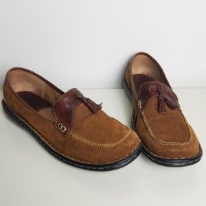 Born Suede Leather Tassel Loafers Women's 11M